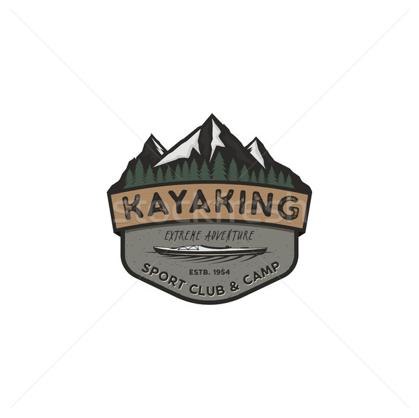 Kayaking vintage badge. Mountain explorer label. Outdoor adventure logo design. Travel and hipster i Stock photo © JeksonGraphics