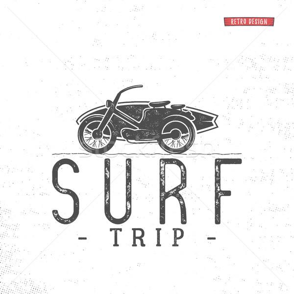 Surf trip concept Vector Summer surfing retro badge. Beach surfer emblem , motorcycle outdoors banne Stock photo © JeksonGraphics