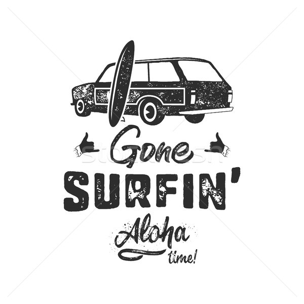 Vintage dessinés à la main été tshirt surf aloha Photo stock © JeksonGraphics