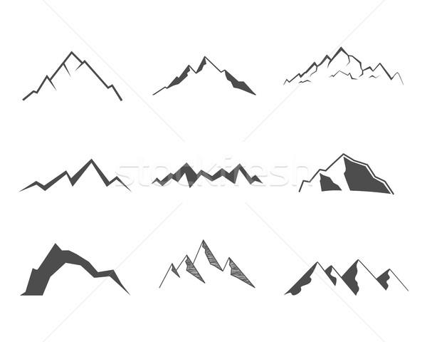 Set of mountain elements. Outdoor icon. Hand drawn snow ice mountain tops, decorative symbols isolat Stock photo © JeksonGraphics
