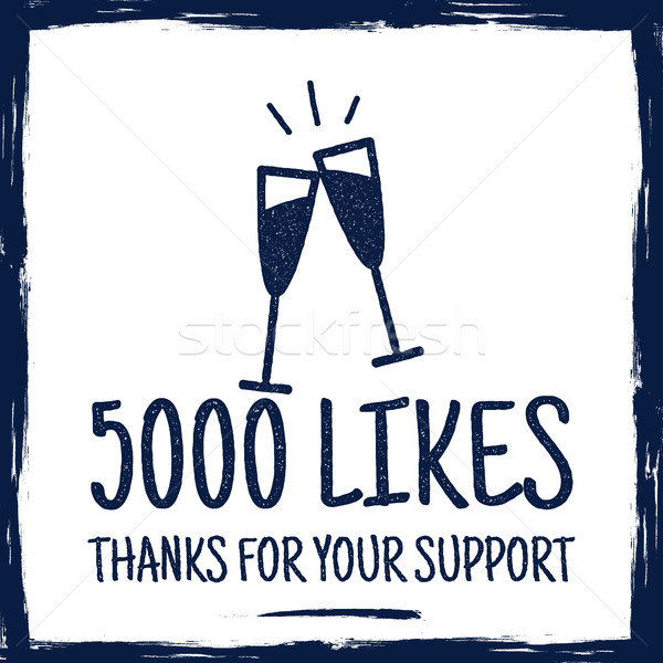 Vintage Thank you badges. Social media Followers label and likes sticker. Handwriting lettering - th Stock photo © JeksonGraphics