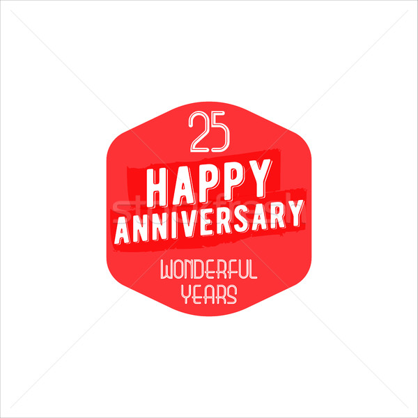 25 Anniversary badge, sign and emblem in retro design. Easy to edit and use your number, text. Vecto Stock photo © JeksonGraphics