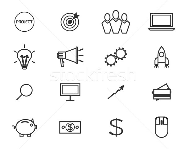 Flat line icons and logo set of crowdfunding service, investing platform for creative project, devel Stock photo © JeksonGraphics