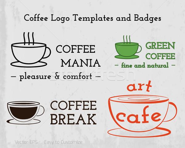 Ayarlamak kahve kafe simgeler logo Stok fotoğraf © JeksonGraphics