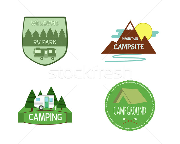 Set of Adventure Outdoor  Activity Tourism Travel Logo Vintage Labels design template. RV, forest ho Stock photo © JeksonGraphics