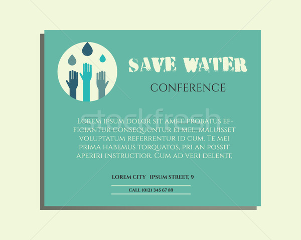 Save water conference poster invitation template with drops and hands logo template. Isolated on bri Stock photo © JeksonGraphics