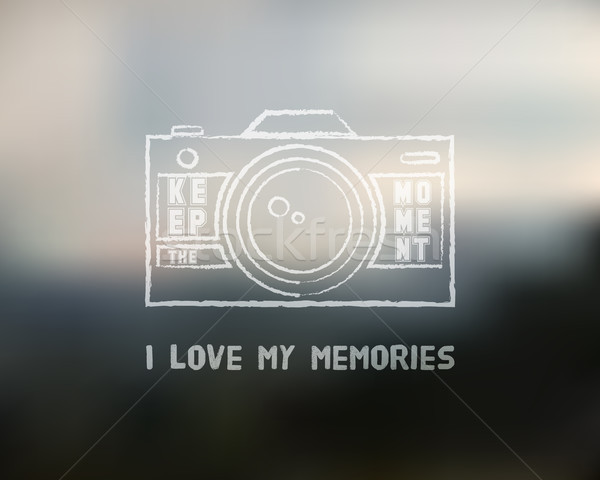 Shutter Icon or logo design template with key words. Camera and Lens badge. Keep the moment label. I Stock photo © JeksonGraphics