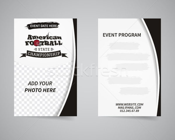 American football back and front flyer template design. Usa Sport brand identity letterhead. Event b Stock photo © JeksonGraphics