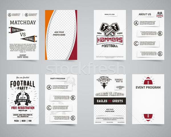 Stock photo: American football party back and front flyer template design collection. Usa Sport brand identity le