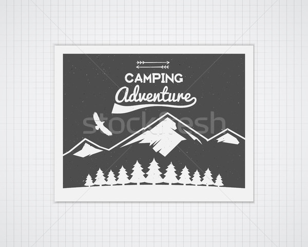 Camping vector frame template with travel poster. Retro outdoor style, monochrome design. National p Stock photo © JeksonGraphics