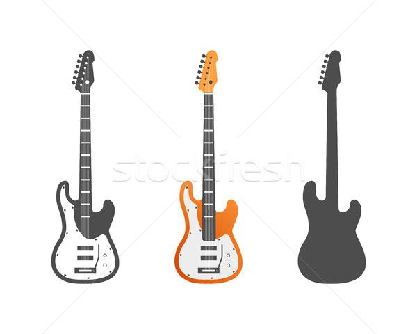 Electric guitars icons set. Musical instrument symbols vector illustration. Isolated on white backgr Stock photo © JeksonGraphics