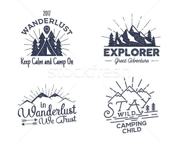 Set of outdoors activity badges. Retro illustration outdoor labels. Typography and roughen style. lo Stock photo © JeksonGraphics