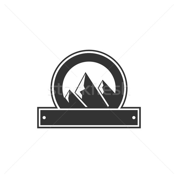 Vector blank badge form with mountains. Good for retro adventure labels, logos. Vintage silhouette i Stock photo © JeksonGraphics