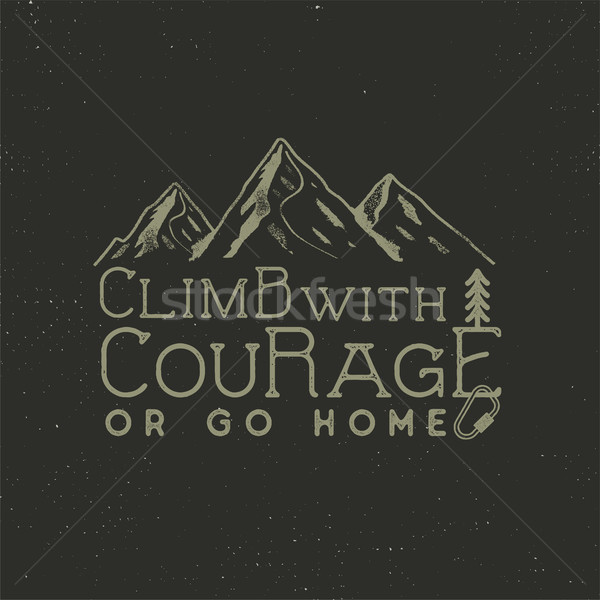 Climbing vintage label design. Hand drawn badge with mountain, climb gear and typography elements. O Stock photo © JeksonGraphics