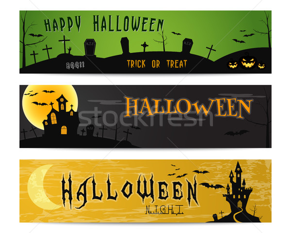 Three Halloween landscape banners. Green, dark and orange designs. Can be use on web, print, as invi Stock photo © JeksonGraphics