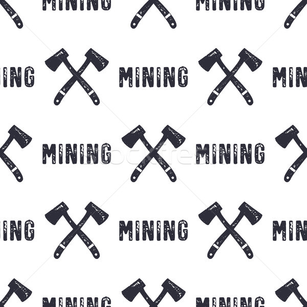 Hand drawn Mining seamless background. Can be used as classicd esignation - gold, silver mining etc. Stock photo © JeksonGraphics