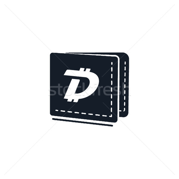 Digibyte digital asset accepted concept. DGB wallet. Vintage hand drawn crypto emblem. Blockchain te Stock photo © JeksonGraphics