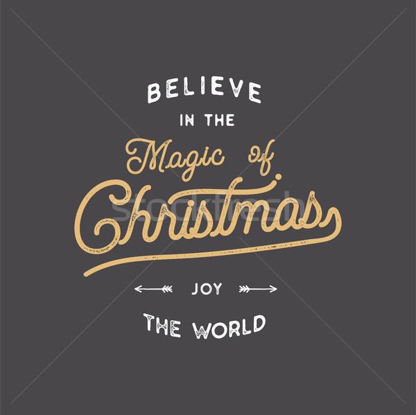 Wesoły christmas śniegu typografii zacytować życzenie Zdjęcia stock © JeksonGraphics