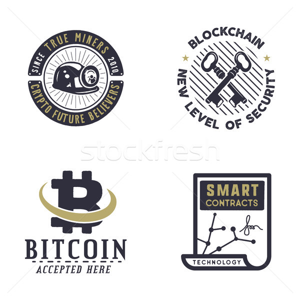 Blockchain, bitcoin, crypto currencies emblems and concepts. Digital assets logos. Vintage hand draw Stock photo © JeksonGraphics