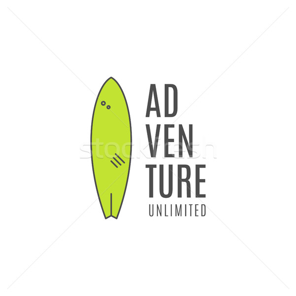 Minimalistic surfing logo concept. Summer Thin line flat surfboard emblem design. Lineart Surfer gea Stock photo © JeksonGraphics