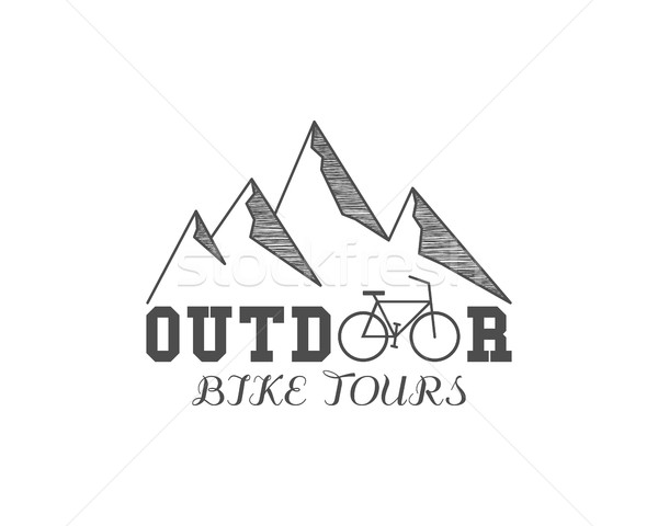 Vintage outdoor bike tours badge, outdoors logo, emblem and label. Mountain camp concept, monochrome Stock photo © JeksonGraphics