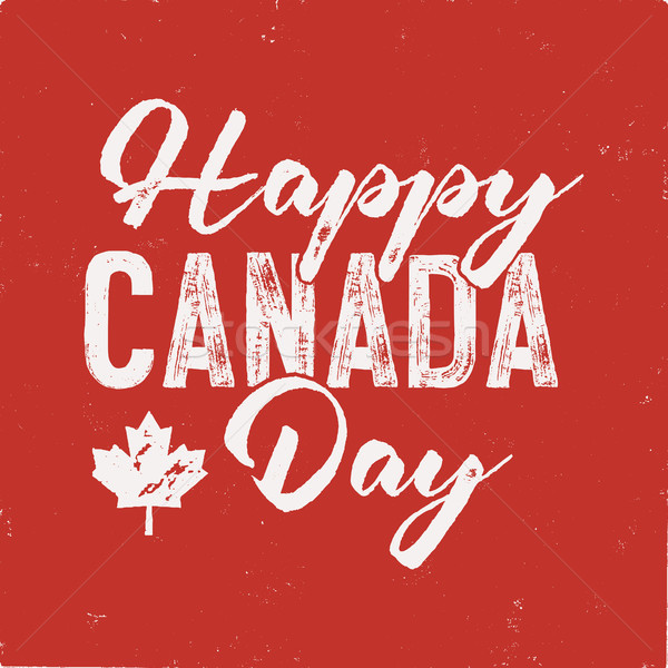 Happy Canada Day T-Shirt for Gift. Distressed Maple Leaf with text. Read and White National Colors.  Stock photo © JeksonGraphics