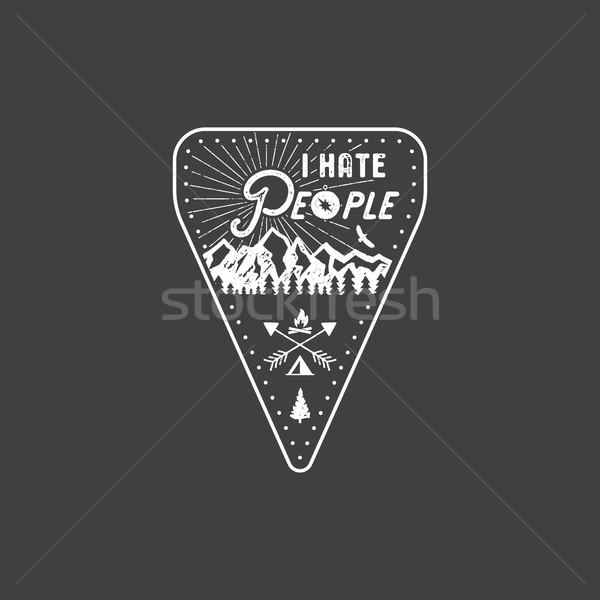Nefret insanlar tshirt dağ kamp hediye Stok fotoğraf © JeksonGraphics