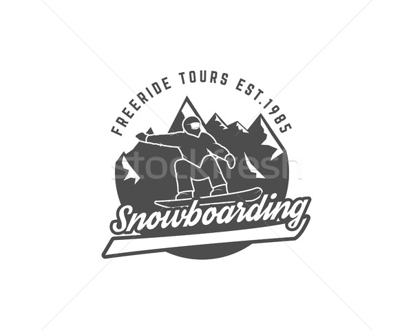 Snowboarding logo and label template. Winter freeride tours badge. Extreme Emblem, icon. Adventure i Stock photo © JeksonGraphics