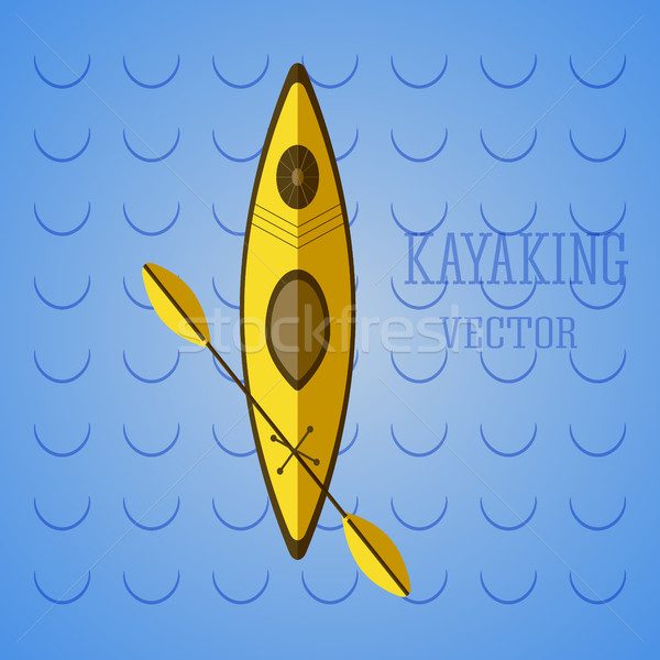 Canoe icon vector. Kayak on blue waves. Summer icon and badge. Camping illustration   Stock photo © JeksonGraphics