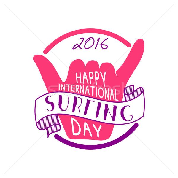 Nyár nemzetközi szörfözik nap 2016 tetoválás Stock fotó © JeksonGraphics