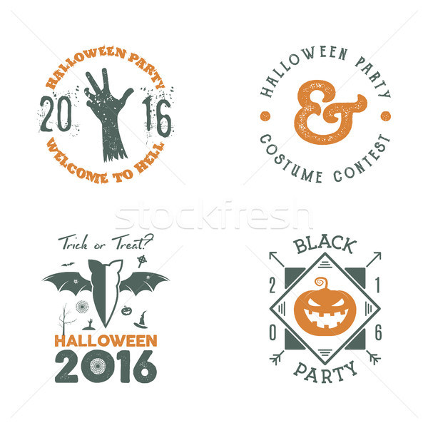 Halloween 2016 party label templates with scary symbols - zombie hand, bat, pumpkin and typography e Stock photo © JeksonGraphics