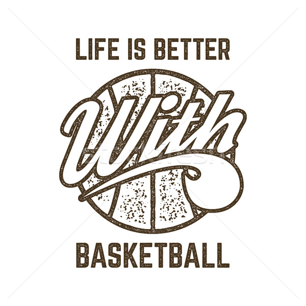 Vintage Basketball sports tee design in retro rubber style with symbols - ball and typography - life Stock photo © JeksonGraphics