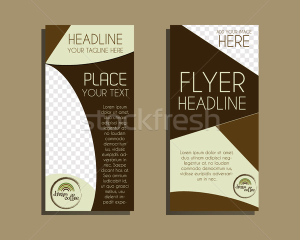 Coffee Brochure Flyer design Layout template. Triangle abstract style. Dream coffee design. Isolated Stock photo © JeksonGraphics