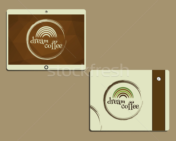 Corporate identity template design for cafe, restaurant. Dream coffee concept. Mobile device, tablet Stock photo © JeksonGraphics