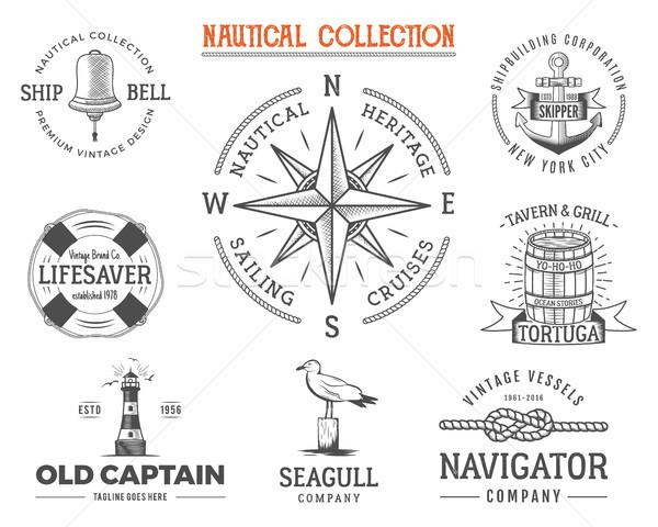 Vintage postzegels ingesteld oude schip Stockfoto © JeksonGraphics