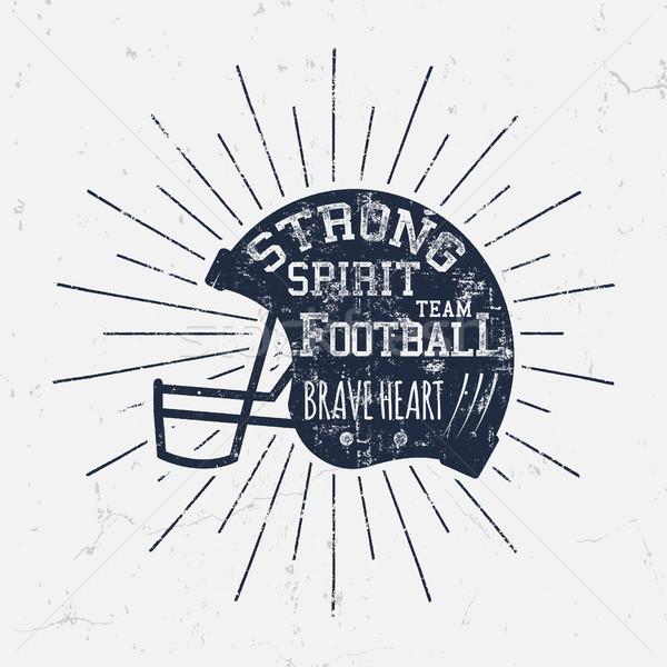 Amerikaanse voetbal retro helm label Stockfoto © JeksonGraphics