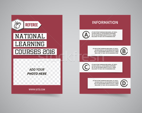 American football couch courses flyer template design. Usa Sport brand identity letterhead. Event Po Stock photo © JeksonGraphics
