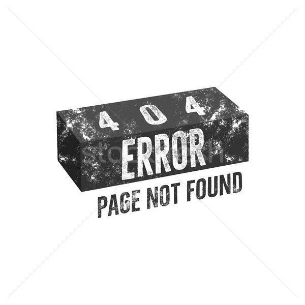 Error 404 page concept with brick. Isolate on white background Stock photo © JeksonGraphics
