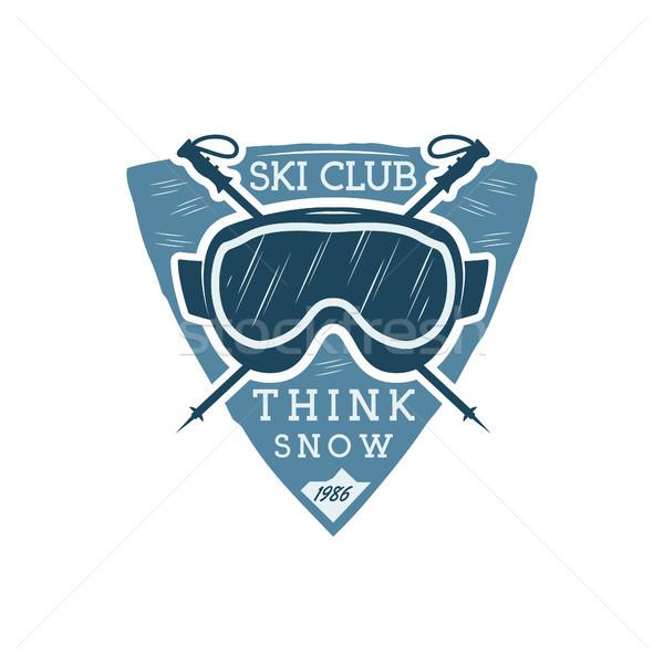 Kış spor Kayak kulüp etiket gözlük Stok fotoğraf © JeksonGraphics