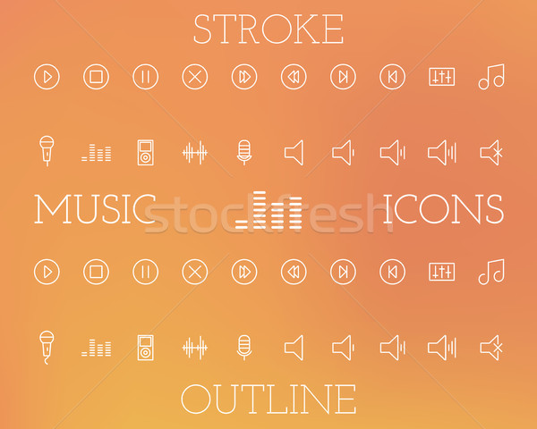 Music Outline and Stroke Icons Set Stock photo © JeksonGraphics