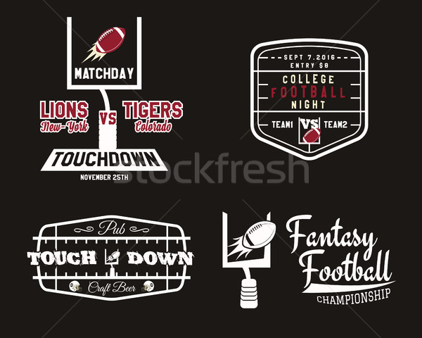 American football field and goal team badge, sport pub logo, label, insignia set in retro color styl Stock photo © JeksonGraphics