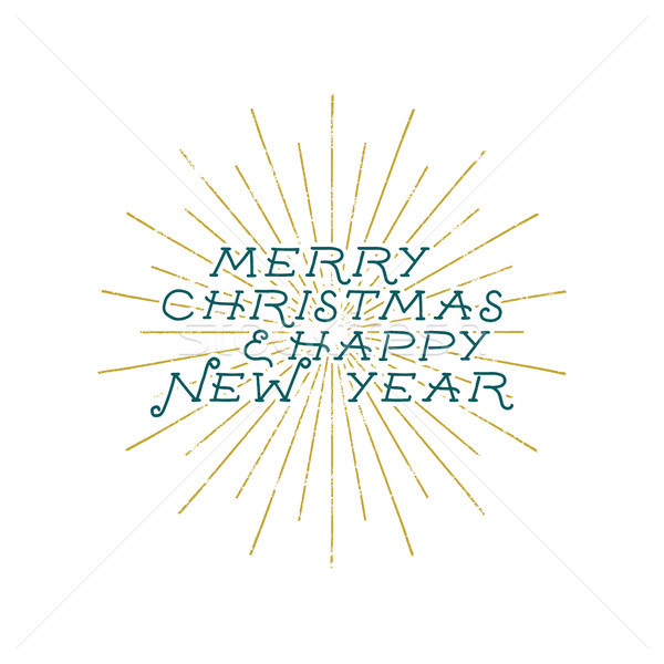 Merry Christmas and Happy New Year lettering, holiday wish, saying and vintage label. Season's greet Stock photo © JeksonGraphics