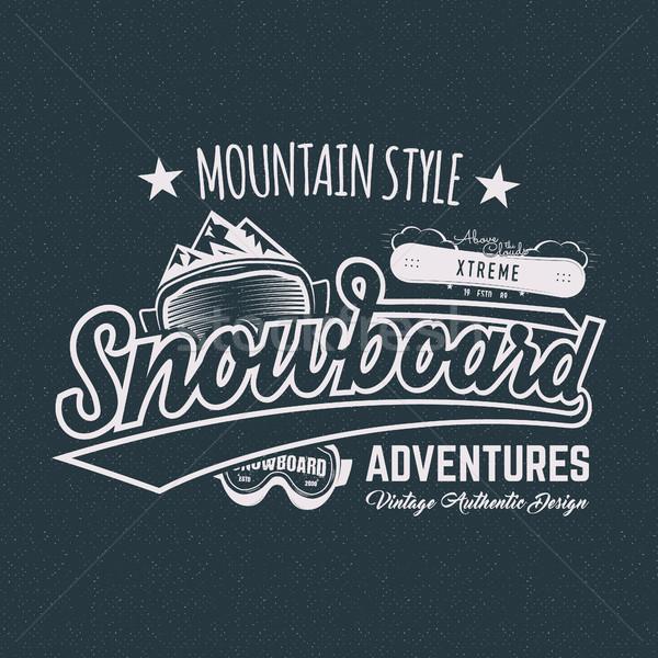 Winter snowboard sports label, t shirt. Vintage mountain style shirt design. Outdoor adventure typog Stock photo © JeksonGraphics