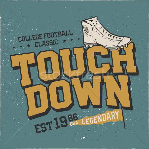 Classic college t shirt design. American football tee graphic design. Touchdown sign. USA football v Stock photo © JeksonGraphics