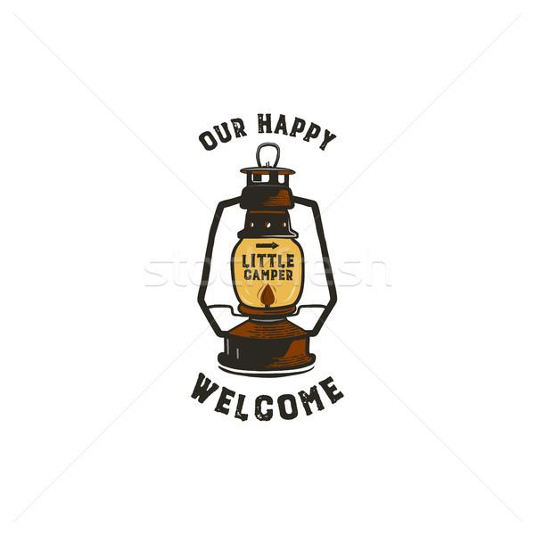 Bağbozumu fener logo mükemmel logo tasarımı rozet Stok fotoğraf © JeksonGraphics