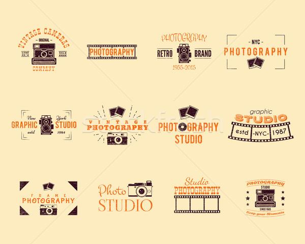 Klasszikus mintázott fotózás jelvények címkék retro Stock fotó © JeksonGraphics