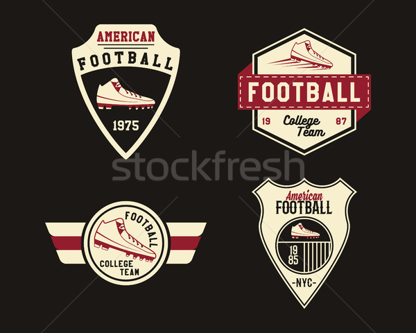 American football badge with cleats, sport logo, label, insignia set in retro color style. Graphic v Stock photo © JeksonGraphics