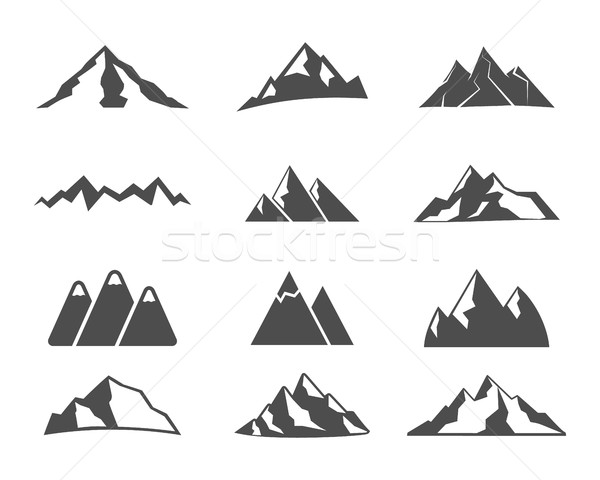 Set of mountain silhouette elements. Outdoor icon. Hand drawn snow ice mountains tops, decorative sy Stock photo © JeksonGraphics