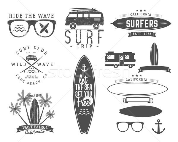 Stok fotoğraf: Ayarlamak · bağbozumu · sörf · grafik · web · tasarım · baskı