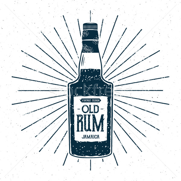 Retro rum bottle label design. Vintage alcohol badge, typography poster for tee , printing t-shirt,  Stock photo © JeksonGraphics